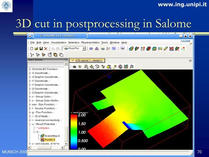 3D cut in postprocessing in Salome