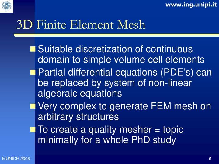 3D Finite Element Mesh