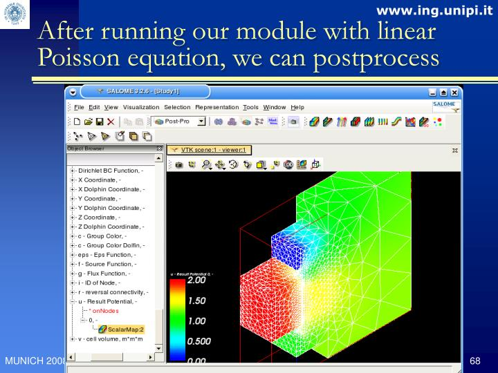 After running our module with linear Poisson equation, we can postprocess