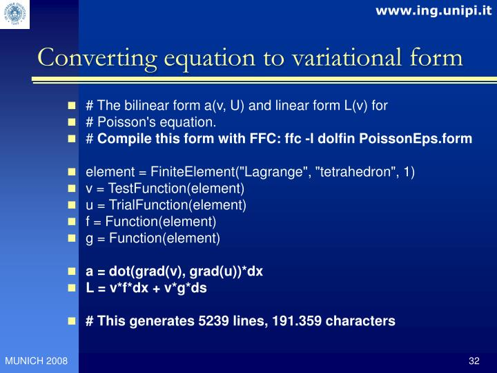 Converting equation to variational form