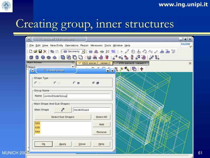 Creating group, inner structures