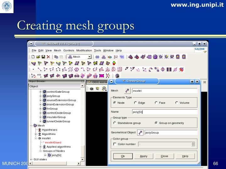Creating mesh groups