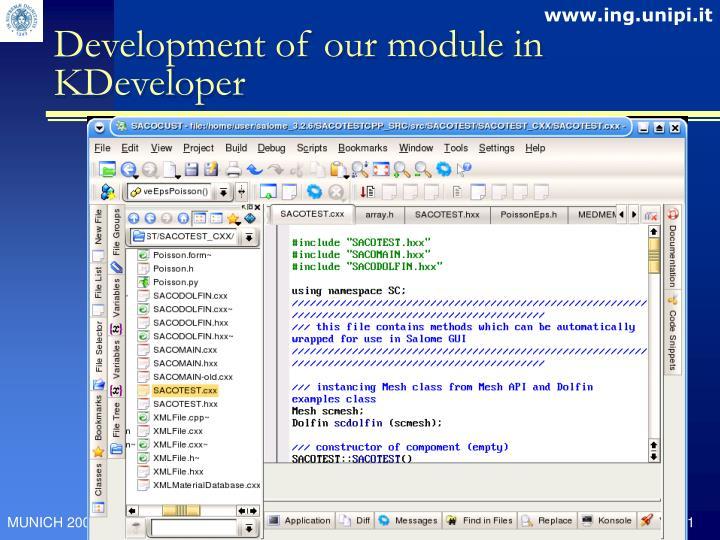 Development of our module in KDeveloper