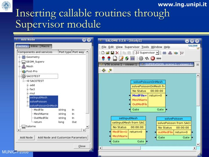 Inserting callable routines through Supervisor module