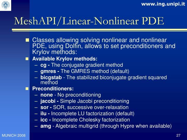 MeshAPI/Linear-Nonlinear PDE