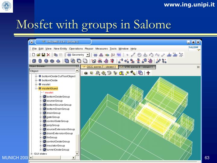 Mosfet with groups in Salome