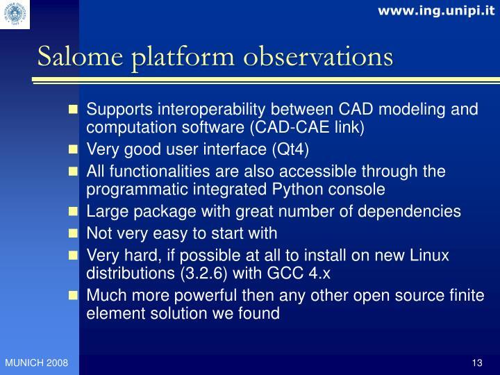 Salome platform observations
