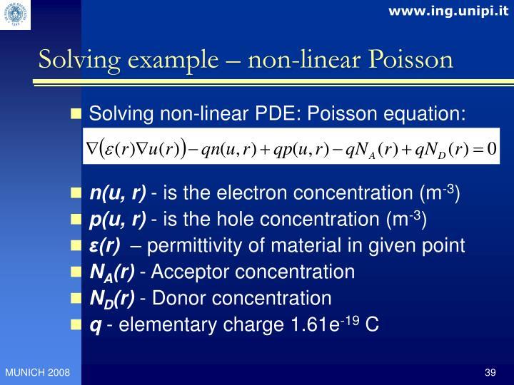 Solving example – non-linear Poisson