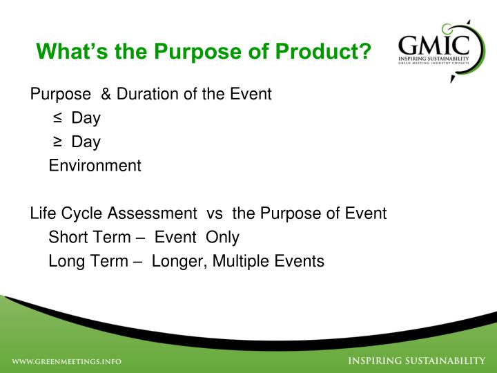 What s the purpose of product