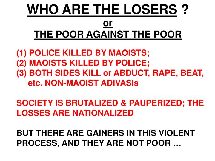 WHO ARE THE LOSERS