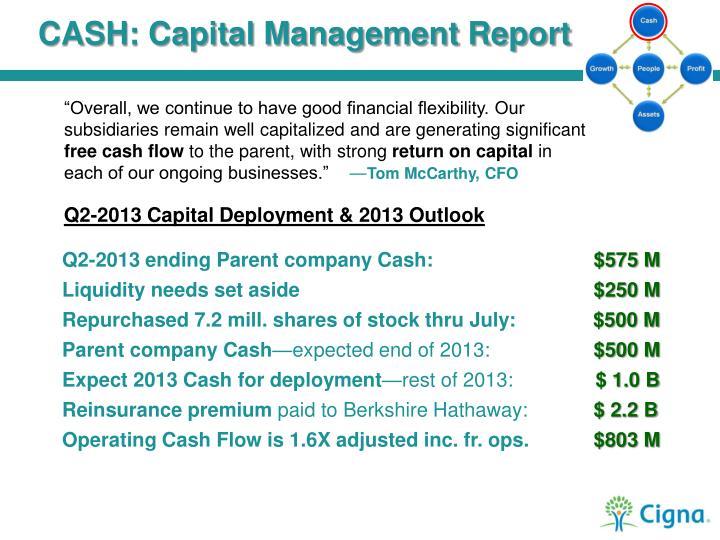 CASH: Capital Management Report
