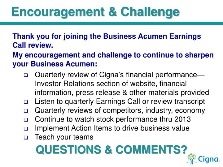 Encouragement & Challenge