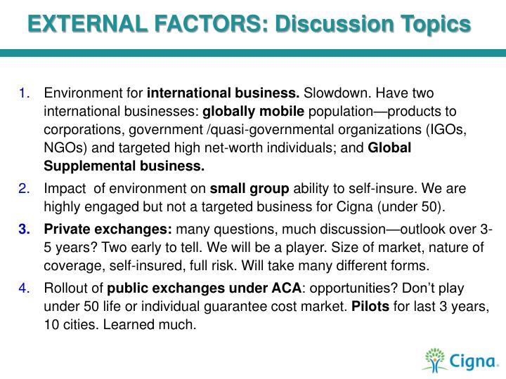 EXTERNAL FACTORS: Discussion Topics