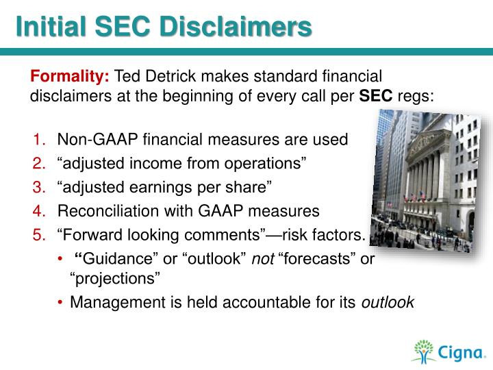 Initial SEC Disclaimers