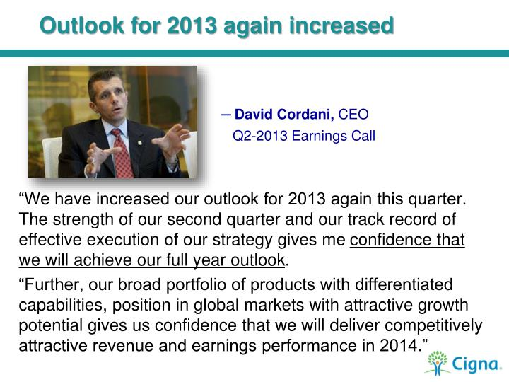 Outlook for 2013 again increased