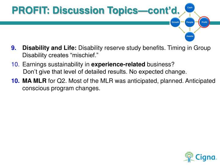 PROFIT: Discussion Topics—cont'd.