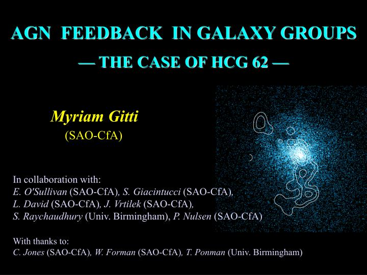 AGN  FEEDBACK  IN GALAXY GROUPS
