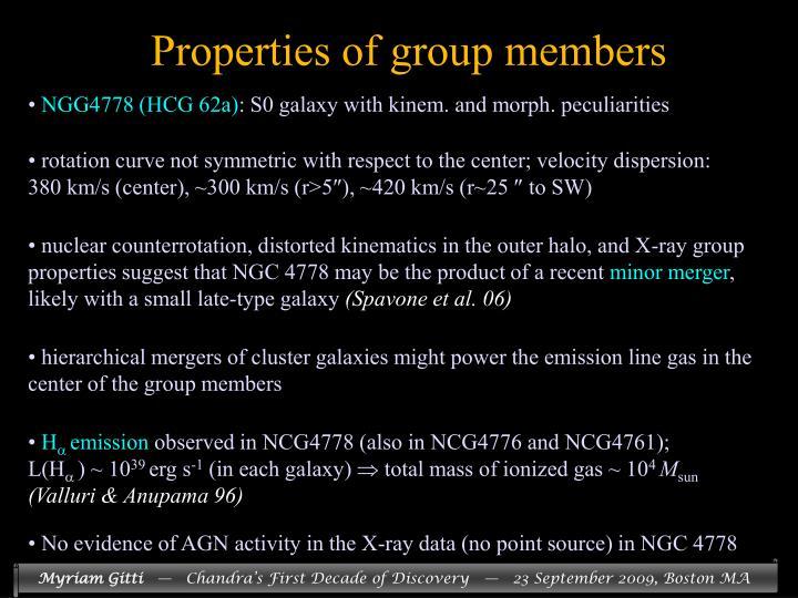 Properties of group members