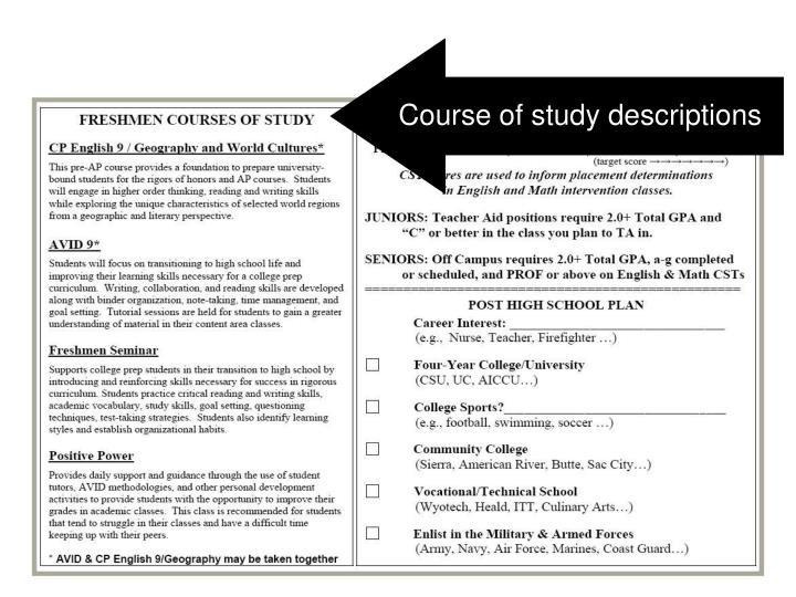 Course of study descriptions