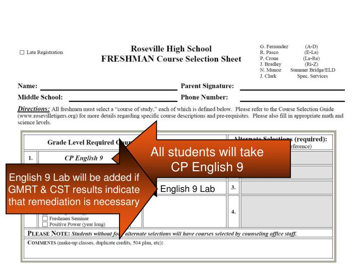 All students will take CP English 9