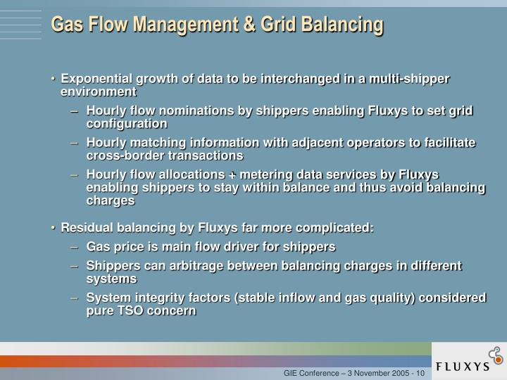 Gas Flow Management & Grid Balancing