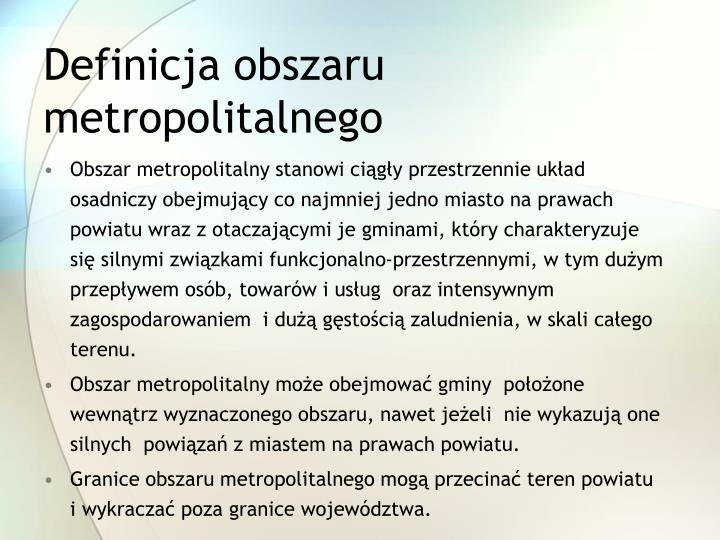 Definicja obszaru metropolitalnego