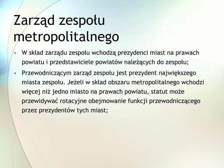 Zarząd zespołu metropolitalnego