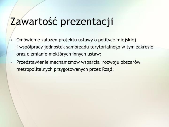 Zawartość prezentacji