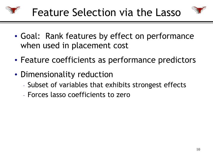 Feature Selection via the Lasso
