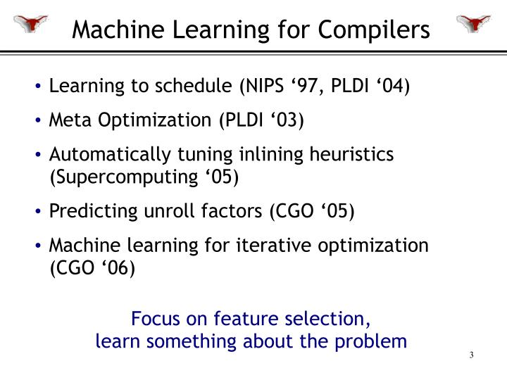 Machine learning for compilers