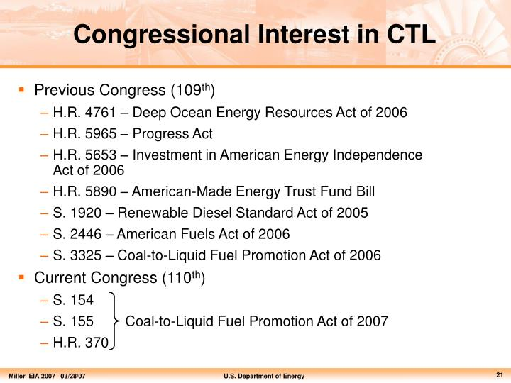 Congressional Interest in CTL