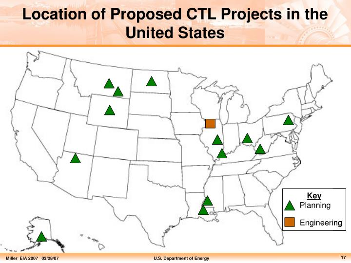 Location of Proposed CTL Projects in the United States