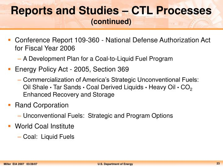 Reports and Studies – CTL Processes