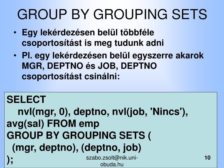 GROUP BY GROUPING SETS
