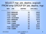 select mgr job deptno avg sal from emp group by job deptno mgr