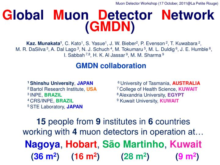 Muon Detector Workshop (17 October, 2011@La Petite Rouge)