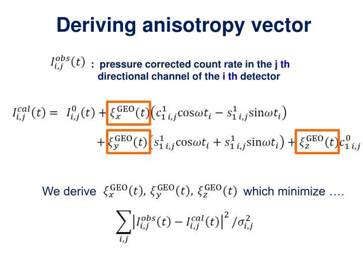 Deriving anisotropy vector