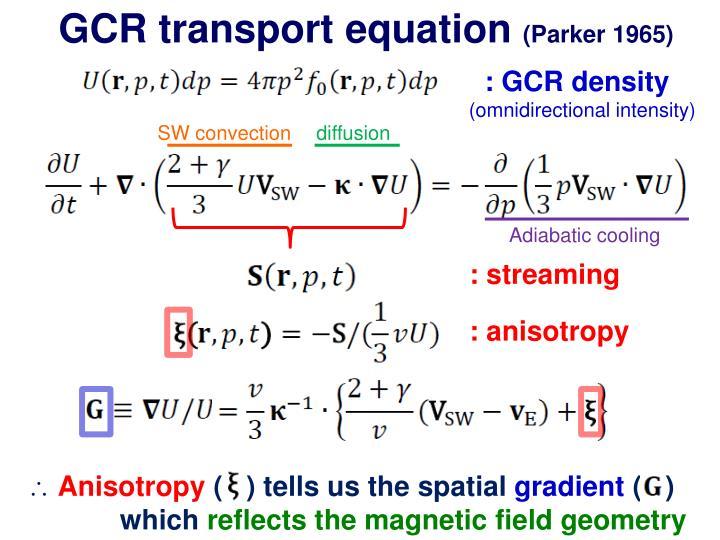GCR transport equation