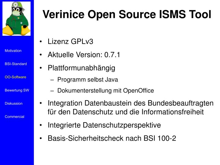 Verinice Open Source ISMS Tool