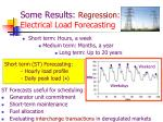 some results regression electrical load forecasting