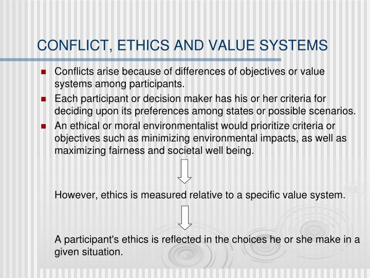CONFLICT, ETHICS AND VALUE SYSTEMS