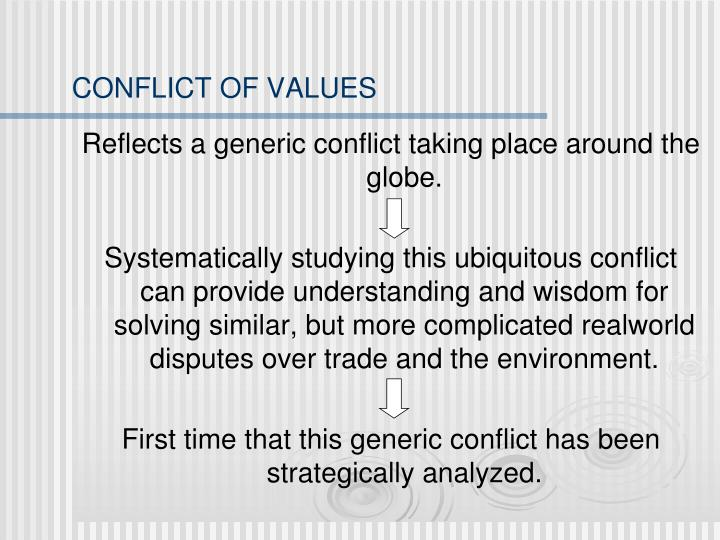 CONFLICT OF VALUES