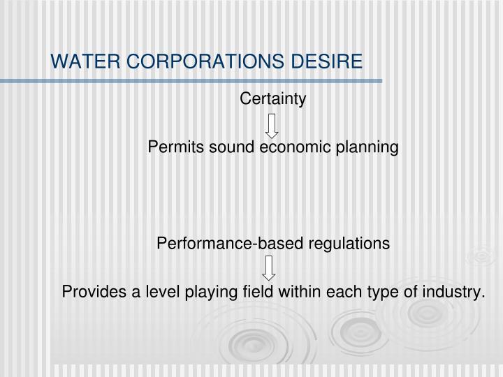 WATER CORPORATIONS DESIRE