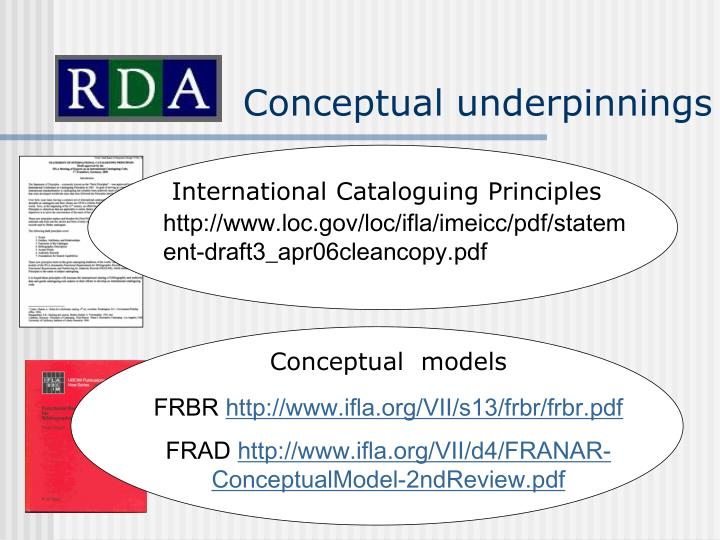 Conceptual underpinnings