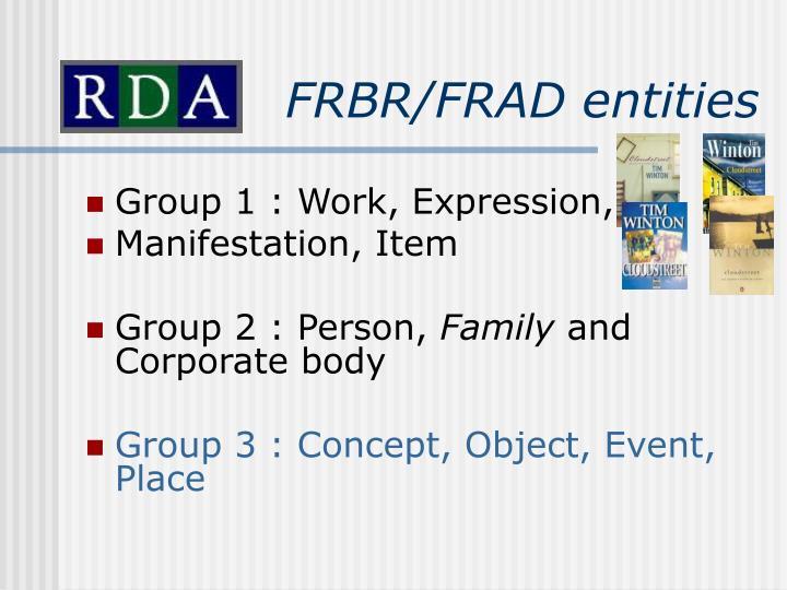 FRBR/FRAD entities