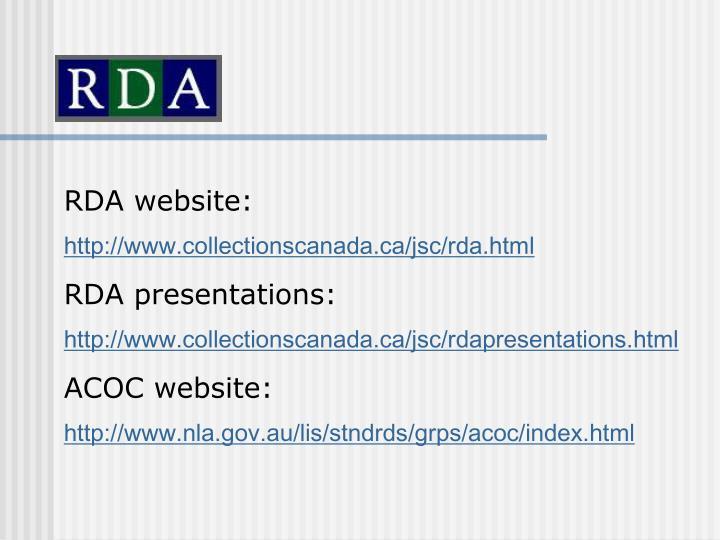 RDA website: