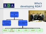 who s developing rda