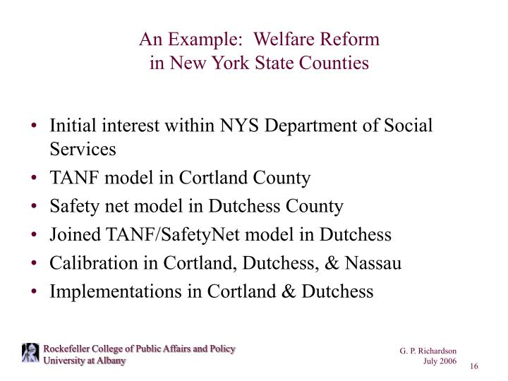 An Example:  Welfare Reform