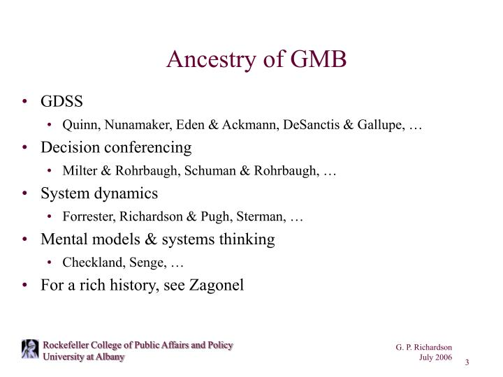 Ancestry of GMB