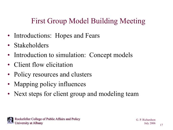 First Group Model Building Meeting